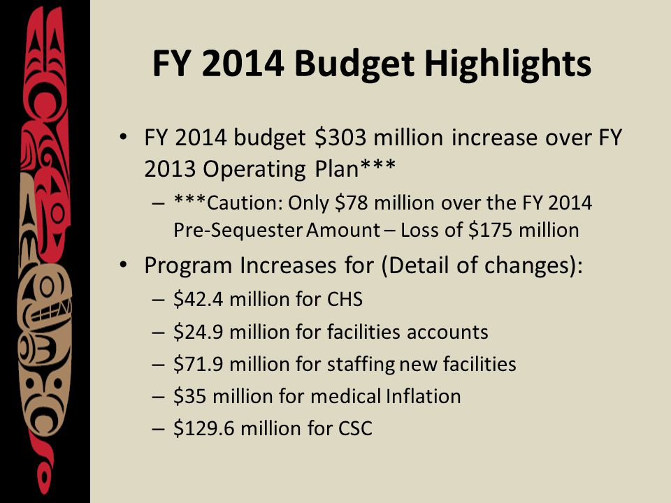 FY 2014 & CSC Funding IHS and BIA will fully fund CSC payments in FY 2014 and President's FY 2015 budget proposes same – IHS estimated 2014 need: $587.4 million – FY 2013 Amt + 2014 Increase = $577.4 – IHS needed additional $10 million to cover CSC funding; consulted with Tribes about where to make the cuts Reductions total $10 million made as follows: – $3 million IHS Directors Fund – $5 million from Indian Health Professions – $1 million from Self-Governance – $1 million from Tribal Management