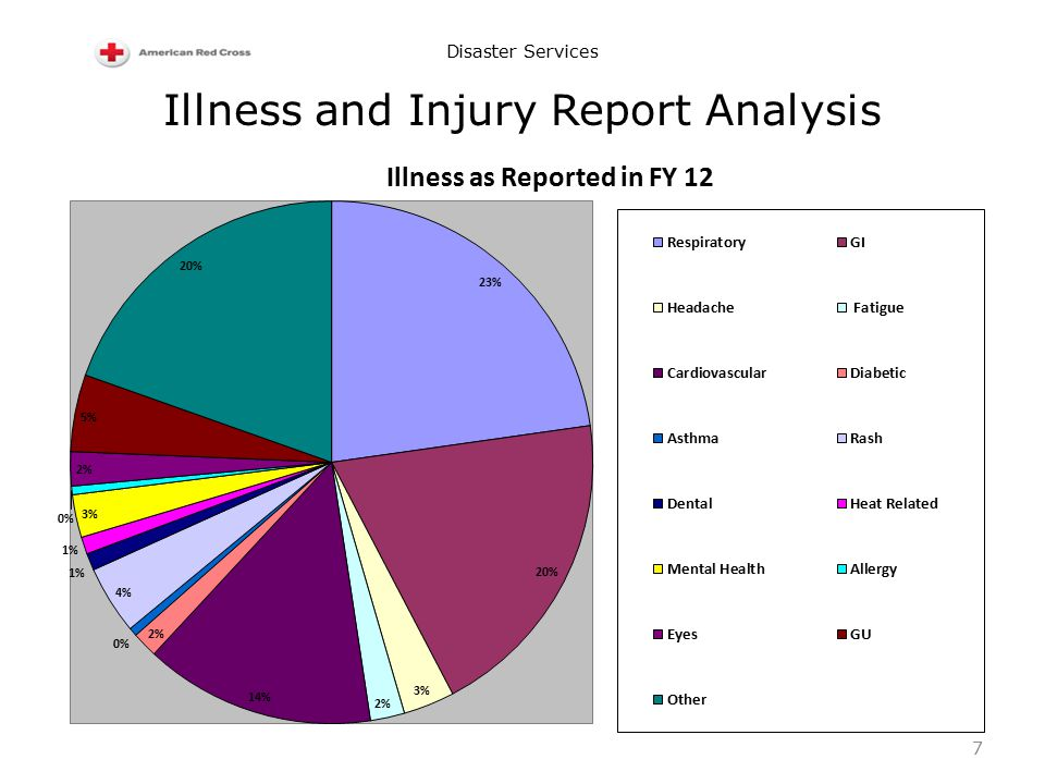 Disaster Services Illness and Injury Report Analysis 7