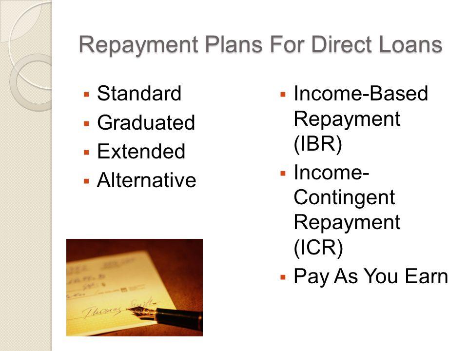 IBR – Loans That Qualify  All Direct and FFEL Program loans except  Parent PLUS loans  Consolidation Loans that repaid parent PLUS loans
