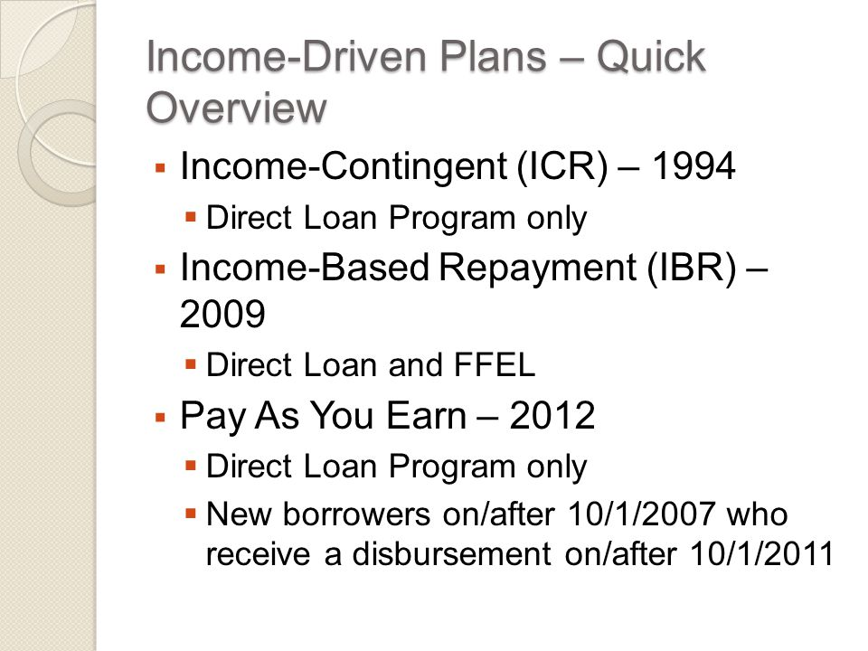 Income-Contingent Repayment  Direct Loan borrowers with eligible loans  FFEL borrowers do not qualify for ICR  FFEL has Income Sensitive Repayment Plan