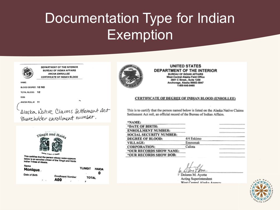 Documentation Type for Indian Exemption