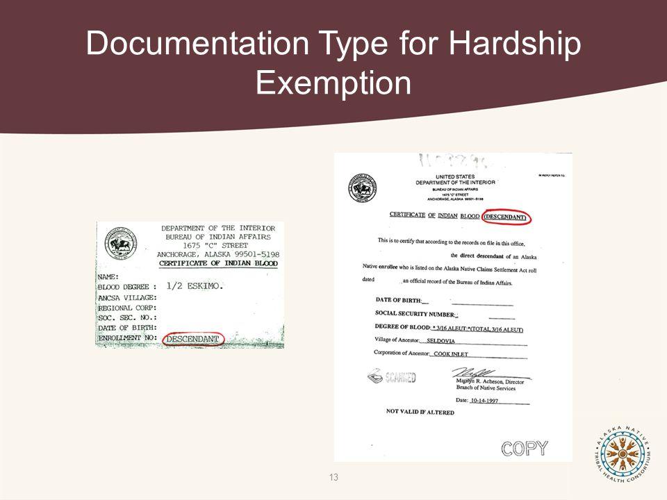 Documentation Type for Hardship Exemption 13