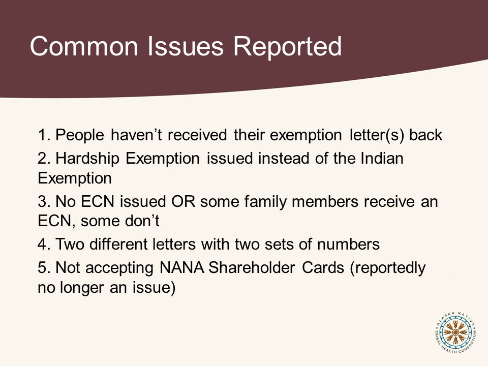 Common Issues Reported 1. People haven't received their exemption letter(s) back 2.