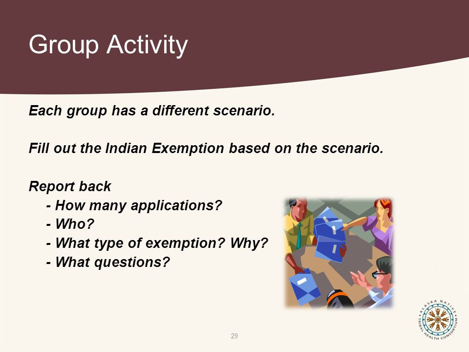 Group Activity 29 Each group has a different scenario.