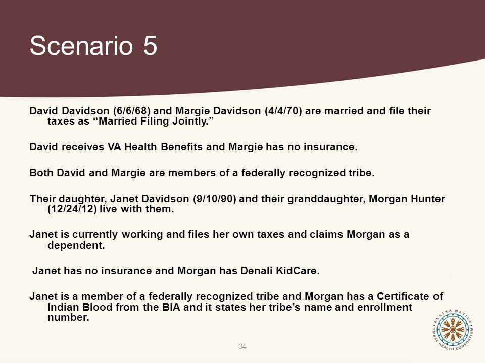Scenario 5 David Davidson (6/6/68) and Margie Davidson (4/4/70) are married and file their taxes as Married Filing Jointly. David receives VA Health Benefits and Margie has no insurance.