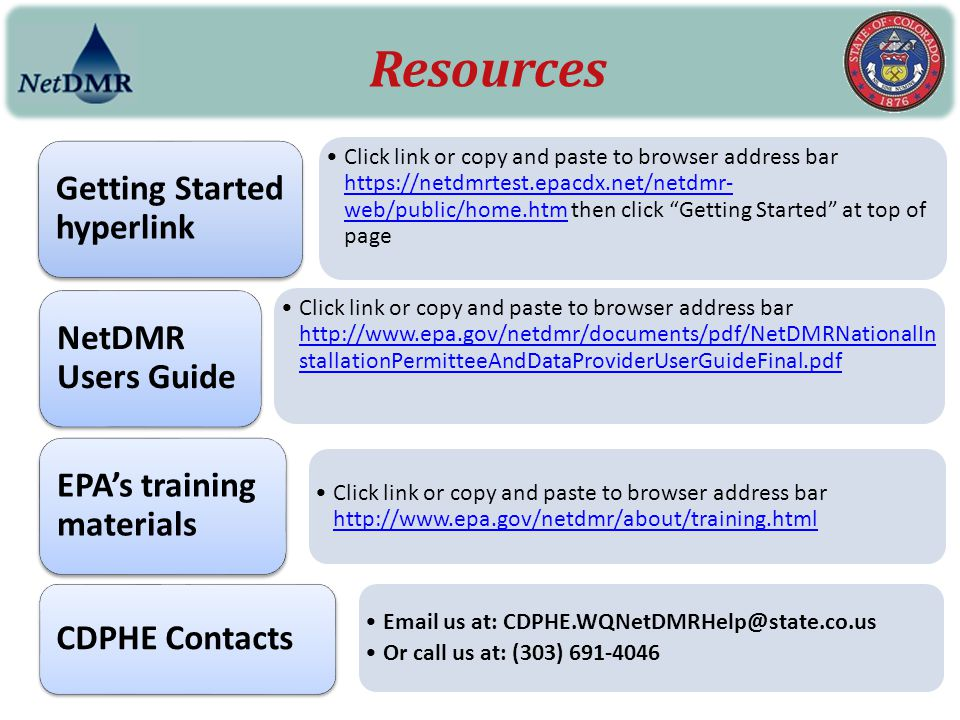 """Click link or copy and paste to browser address bar https://netdmrtest.epacdx.net/netdmr- web/public/home.htm then click """"Getting Started"""" at top of p"""
