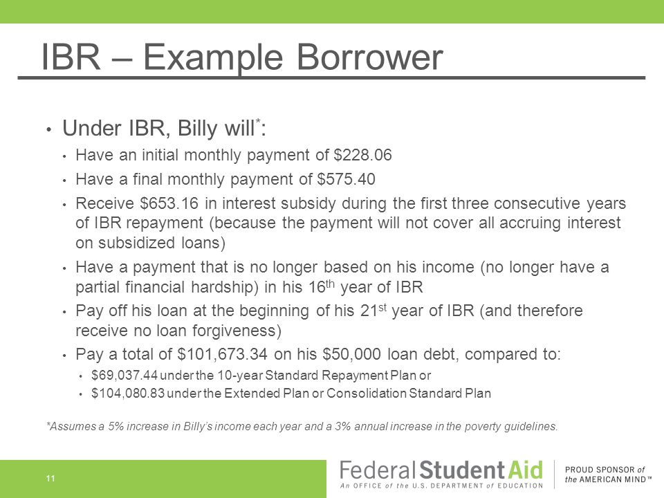 IBR – Example Borrower Under IBR, Billy will * : Have an initial monthly payment of $228.06 Have a final monthly payment of $575.40 Receive $653.16 in interest subsidy during the first three consecutive years of IBR repayment (because the payment will not cover all accruing interest on subsidized loans) Have a payment that is no longer based on his income (no longer have a partial financial hardship) in his 16 th year of IBR Pay off his loan at the beginning of his 21 st year of IBR (and therefore receive no loan forgiveness) Pay a total of $101,673.34 on his $50,000 loan debt, compared to: $69,037.44 under the 10-year Standard Repayment Plan or $104,080.83 under the Extended Plan or Consolidation Standard Plan *Assumes a 5% increase in Billy's income each year and a 3% annual increase in the poverty guidelines.