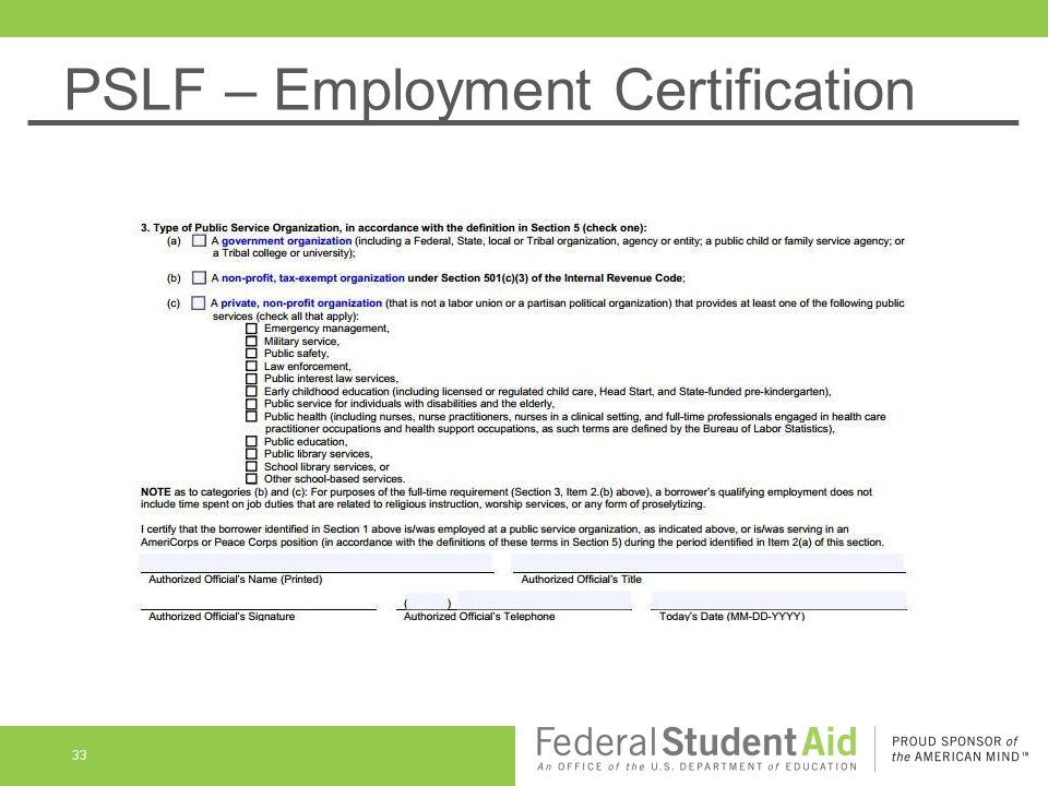 PSLF – Employment Certification 33