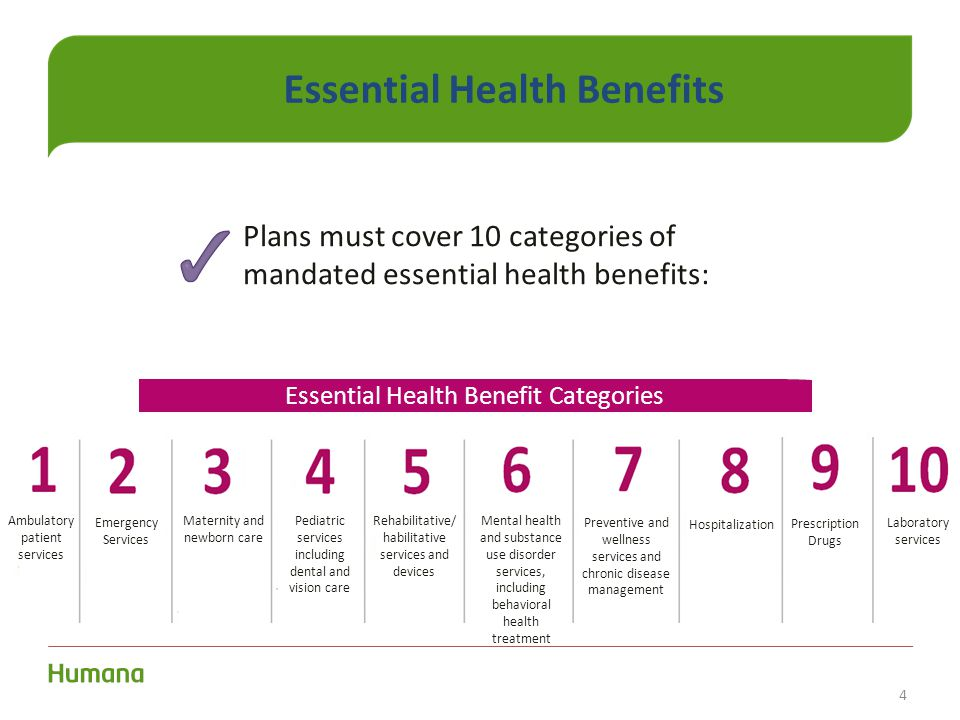 4 Essential Health Benefits Plans must cover 10 categories of mandated essential health benefits: Essential Health Benefit Categories Ambulatory patie