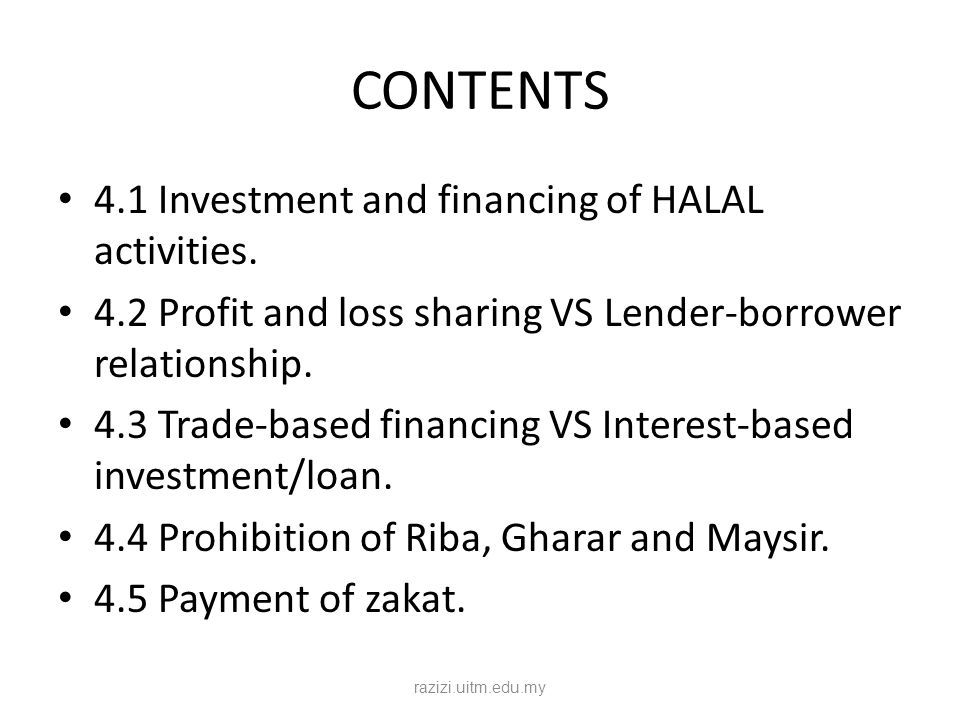 CONTENTS 4.1 Investment and financing of HALAL activities. 4.2 Profit and loss sharing VS Lender-borrower relationship. 4.3 Trade-based financing VS I