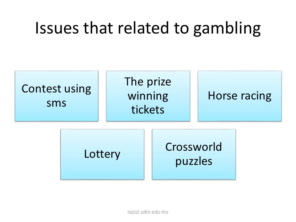Issues that related to gambling Contest using sms The prize winning tickets Horse racing Lottery Crossworld puzzles razizi.uitm.edu.my
