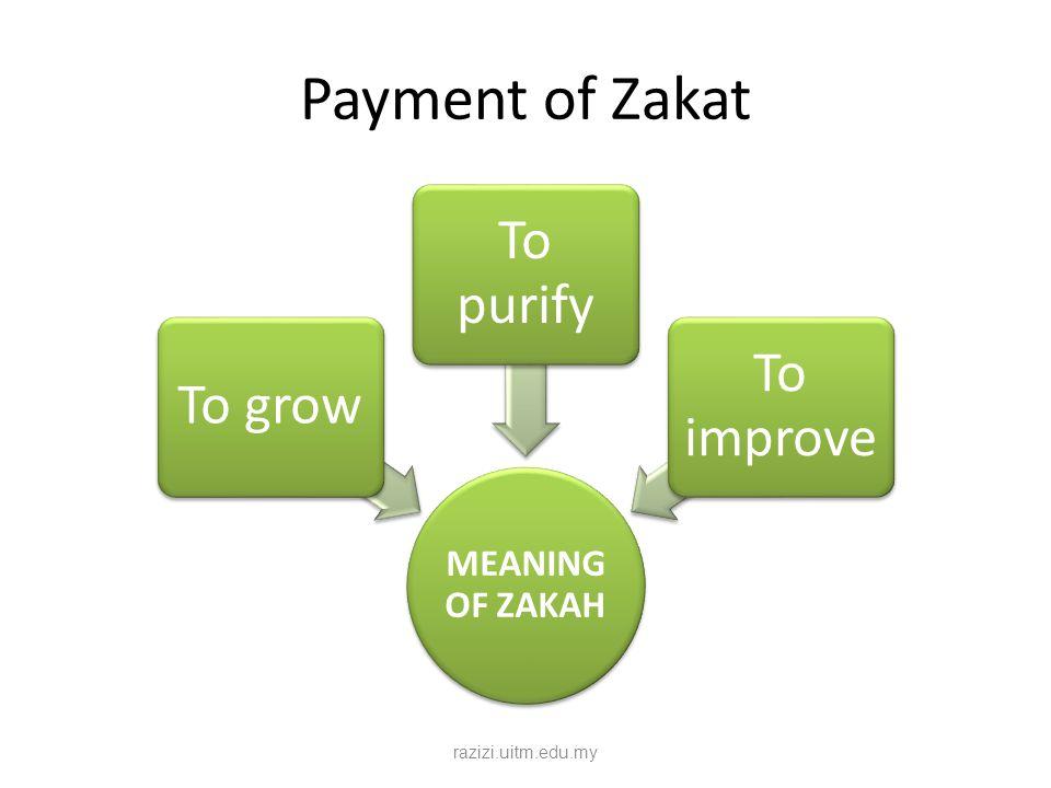 Payment of Zakat MEANING OF ZAKAH To grow To purify To improve razizi.uitm.edu.my