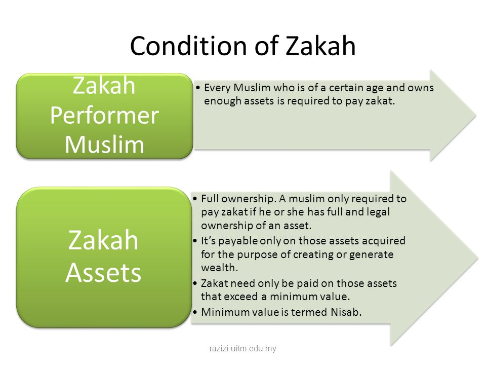 Condition of Zakah Every Muslim who is of a certain age and owns enough assets is required to pay zakat. Zakah Performer Muslim Full ownership. A musl