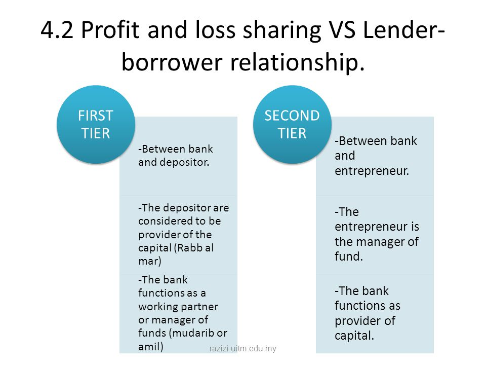 4.2 Profit and loss sharing VS Lender- borrower relationship. -Between bank and depositor. -The depositor are considered to be provider of the capital