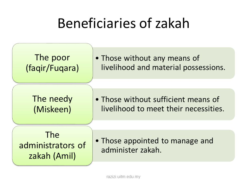 Beneficiaries of zakah Those without any means of livelihood and material possessions. The poor (faqir/Fuqara) Those without sufficient means of livel