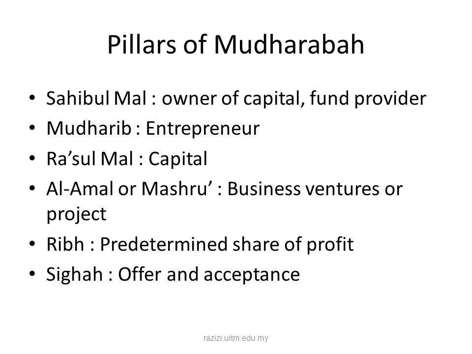 Pillars of Mudharabah Sahibul Mal : owner of capital, fund provider Mudharib : Entrepreneur Ra'sul Mal : Capital Al-Amal or Mashru' : Business venture