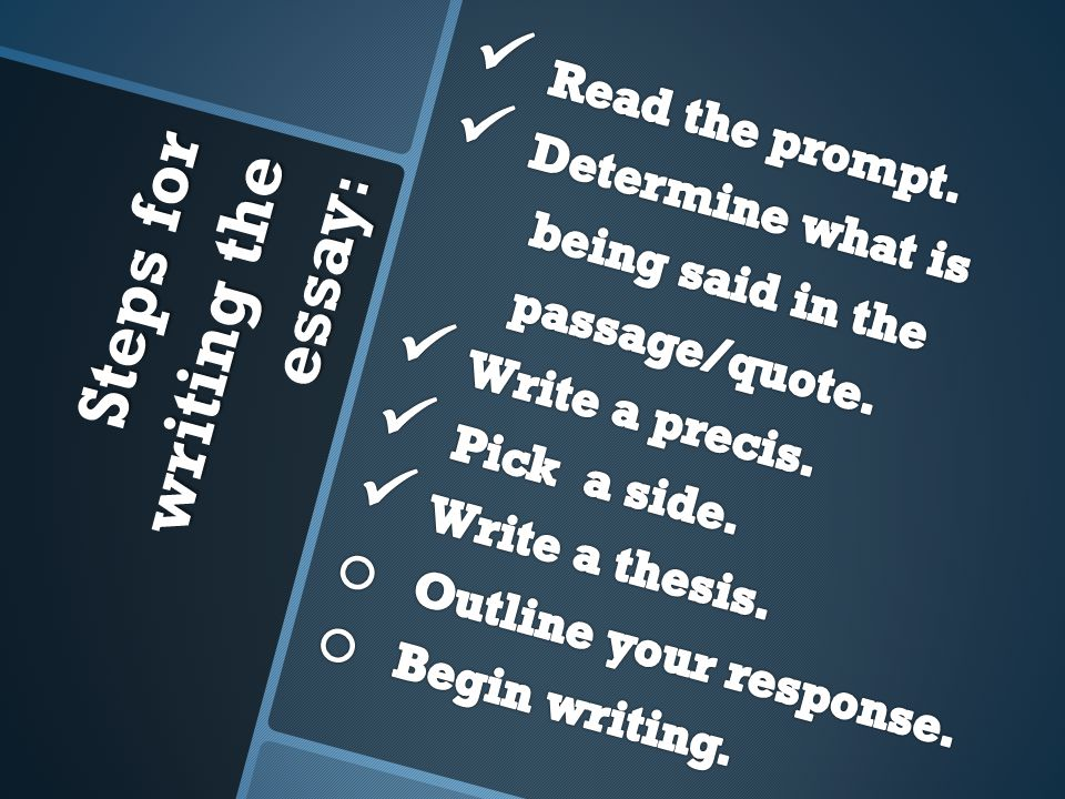 Steps for writing the essay :