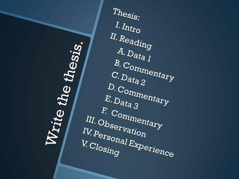 Write the thesis. Thesis: I. Intro I. Intro II.
