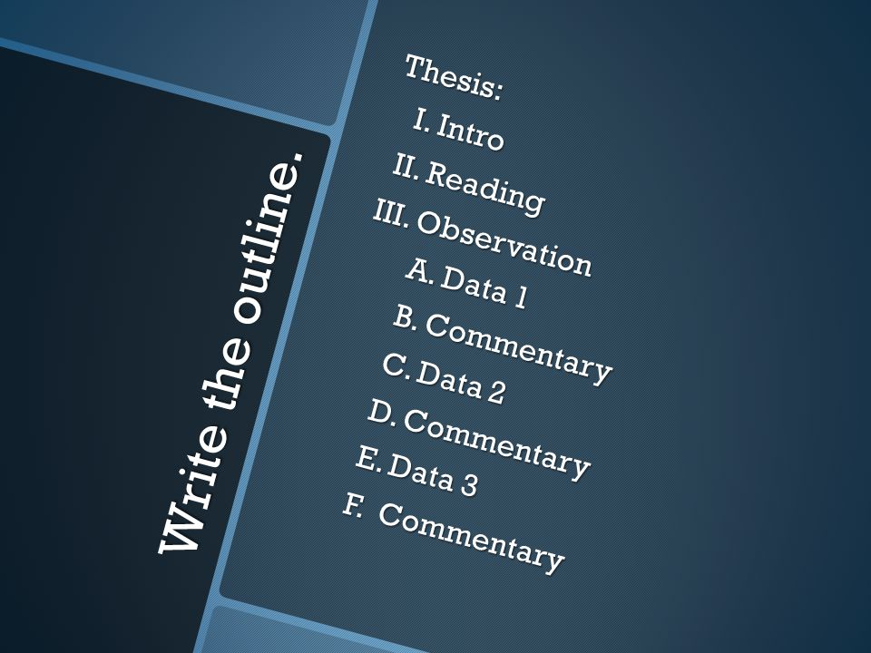 Write the outline. Thesis: I. Intro I. Intro II. Reading II. Reading III. Observation III. Observation A. Data 1 A. Data 1 B. Commentary B. Commentary
