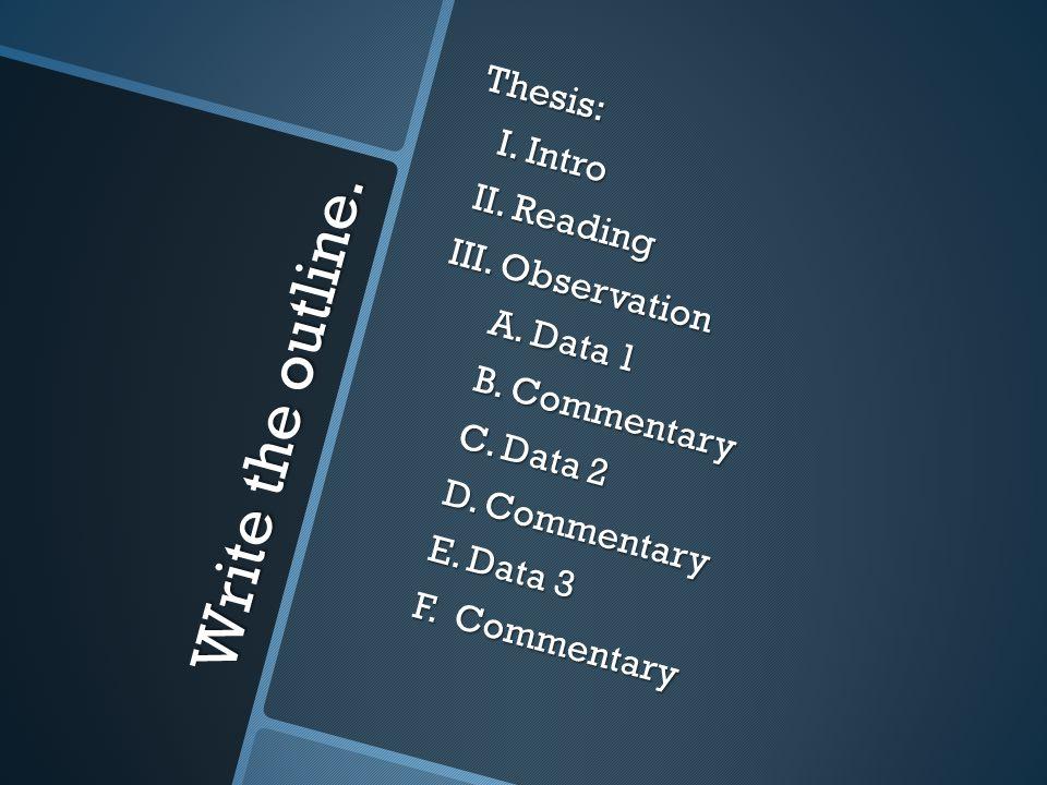 Write the outline. Thesis: I. Intro I. Intro II.