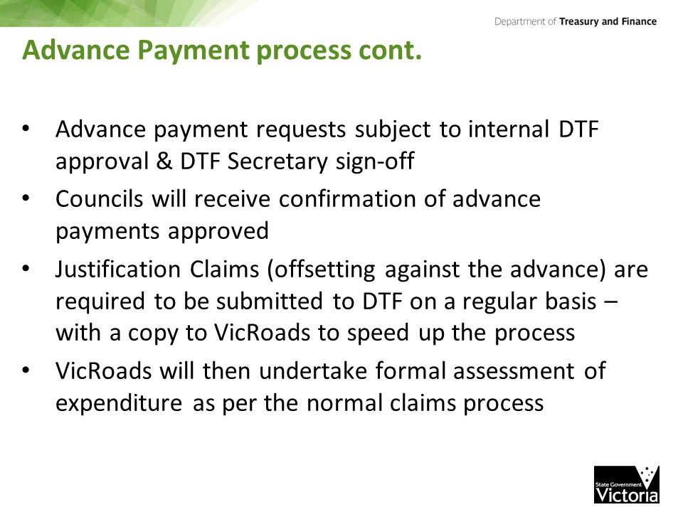 Advance Payment process cont.
