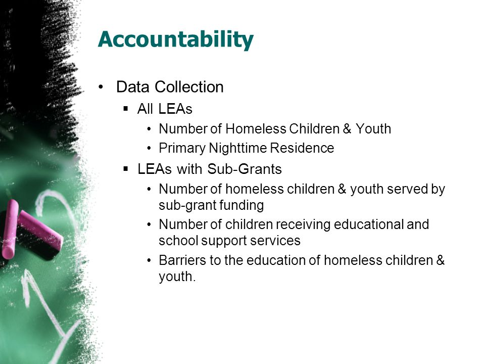 Data Collection  All LEAs Number of Homeless Children & Youth Primary Nighttime Residence  LEAs with Sub-Grants Number of homeless children & youth served by sub-grant funding Number of children receiving educational and school support services Barriers to the education of homeless children & youth.