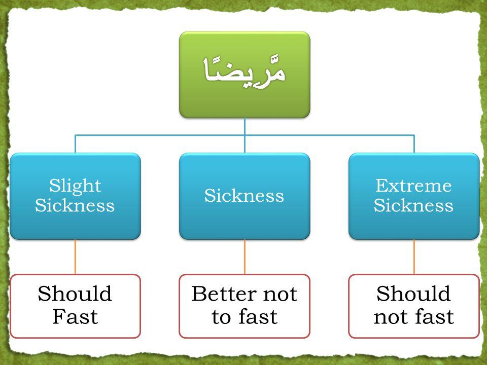 Slight Sickness Should Fast Sickness Better not to fast Extreme Sickness Should not fast