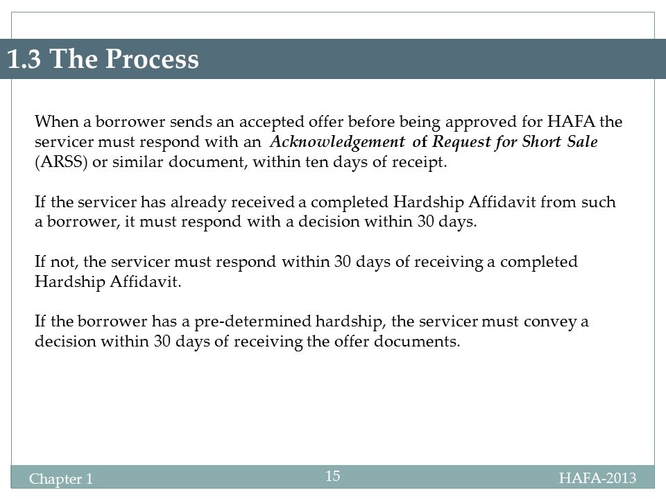HAFA-2013 Chapter 1 15 1.3 The Process When a borrower sends an accepted offer before being approved for HAFA the servicer must respond with an Acknow