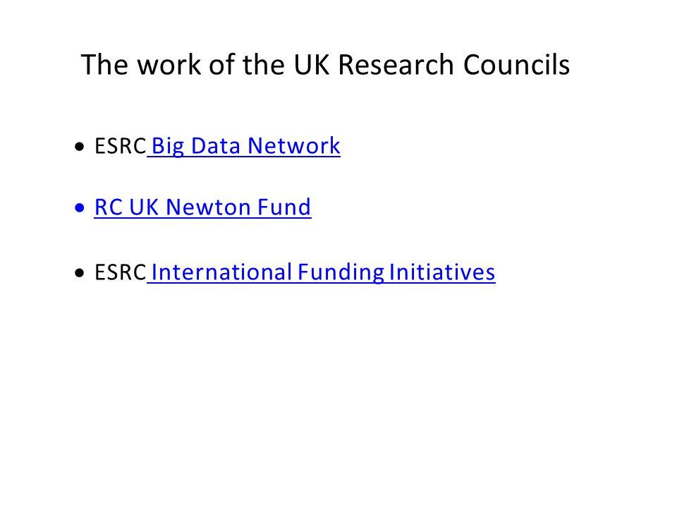The work of the UK Research Councils  ESRC Big Data Network  RC UK Newton Fund  ESRC International Funding Initiatives