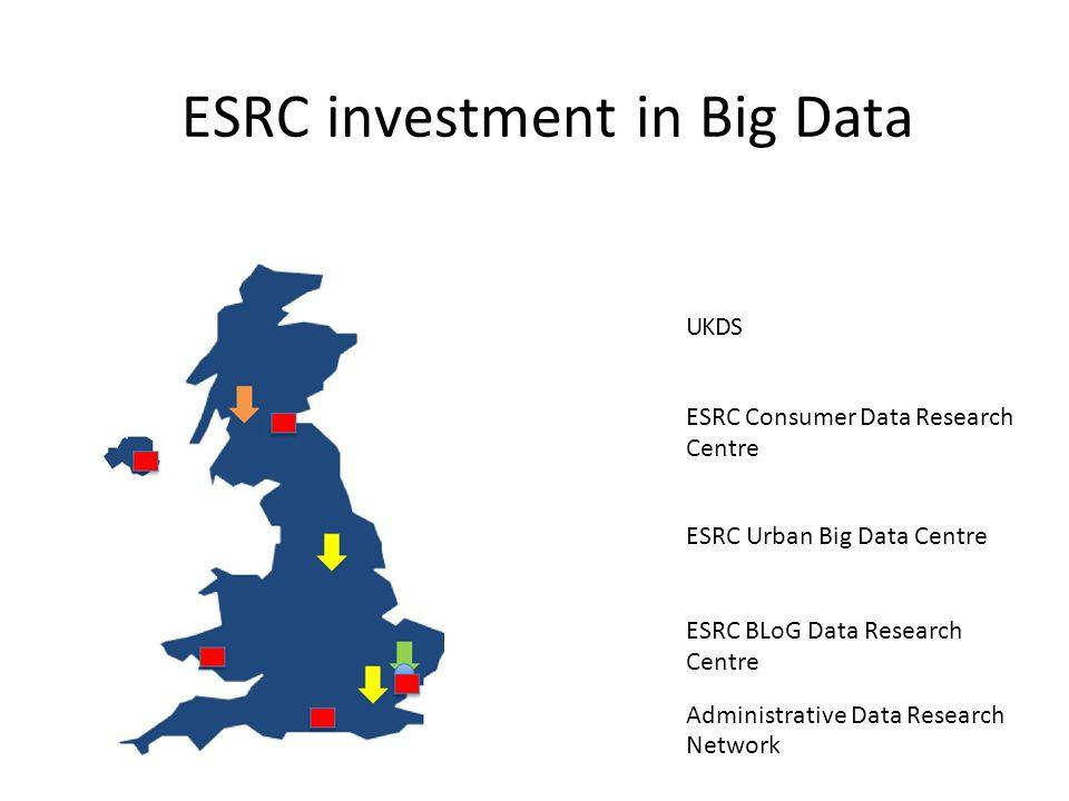 ESRC investment in Big Data UKDS ESRC Consumer Data Research Centre ESRC Urban Big Data Centre ESRC BLoG Data Research Centre Administrative Data Research Network