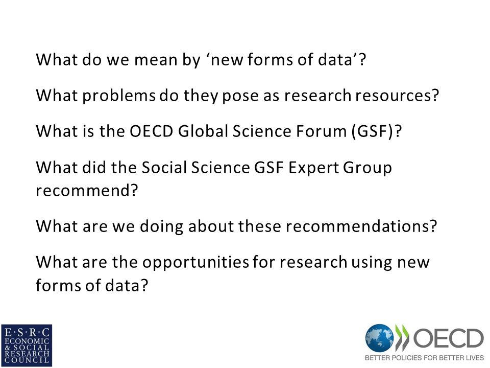 Recommendations (4) Global data curation Social science research communities in countries without institutional support for data curation or supporting infrastructure should conduct an assessment of their national needs and assets in this area that will contribute to national plans of action.