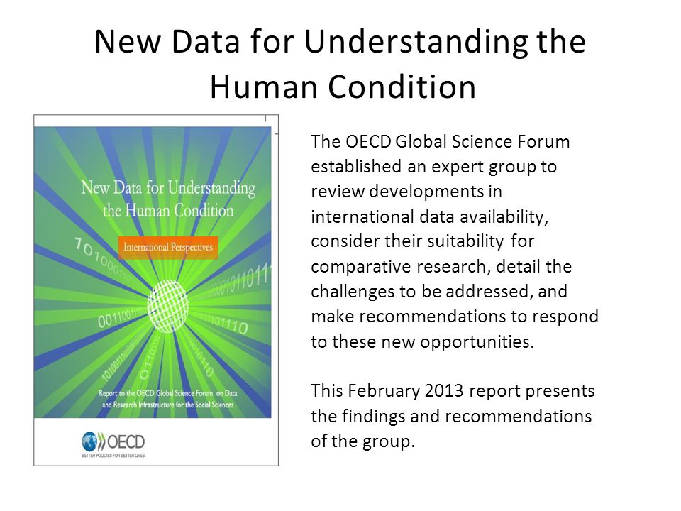 New Data for Understanding the Human Condition The OECD Global Science Forum established an expert group to review developments in international data availability, consider their suitability for comparative research, detail the challenges to be addressed, and make recommendations to respond to these new opportunities.