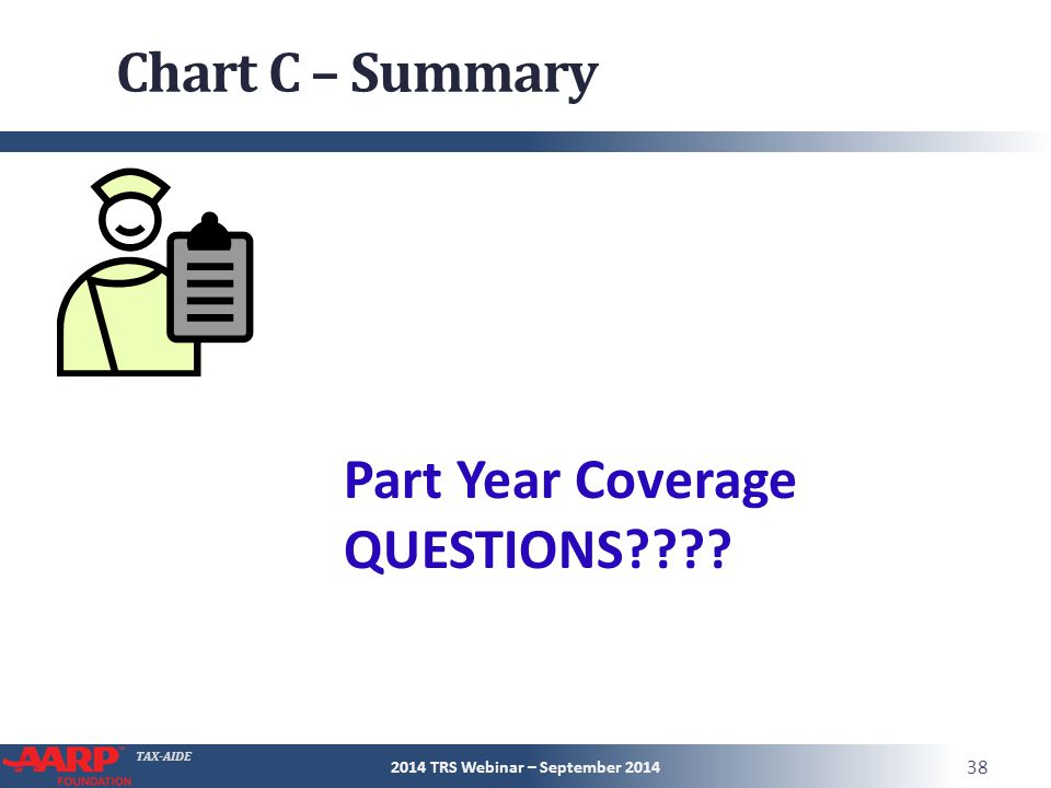 TAX-AIDE Chart C – Summary 2014 TRS Webinar – September 2014 38 Part Year Coverage QUESTIONS