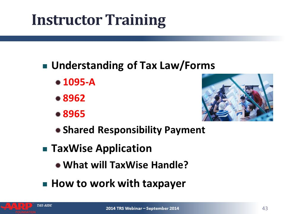 TAX-AIDE Instructor Training Understanding of Tax Law/Forms  1095-A  8962  8965  Shared Responsibility Payment TaxWise Application  What will TaxWise Handle.