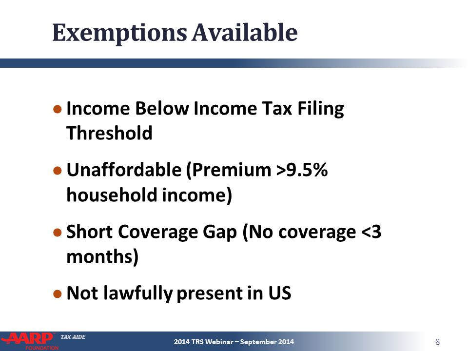 TAX-AIDE Form 8965 Part I Marketplace- Granted Exemptions 2014 TRS Webinar – September 2014 29