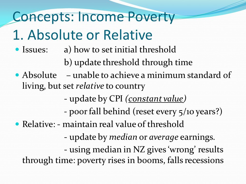 Concepts: Income Poverty 1.
