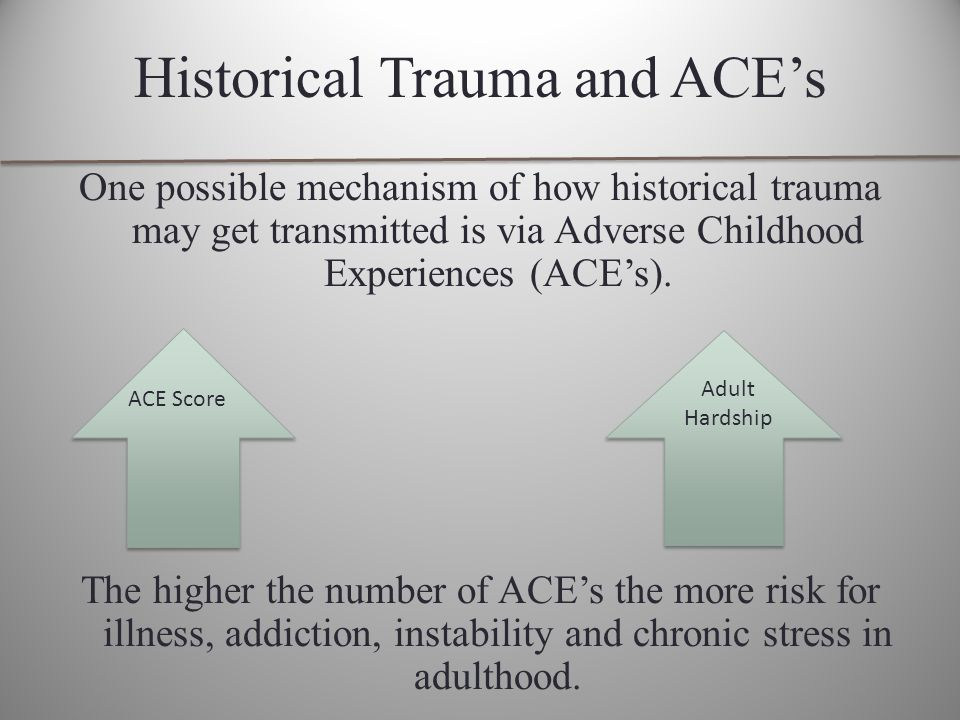 Historical Trauma and ACE's One possible mechanism of how historical trauma may get transmitted is via Adverse Childhood Experiences (ACE's).