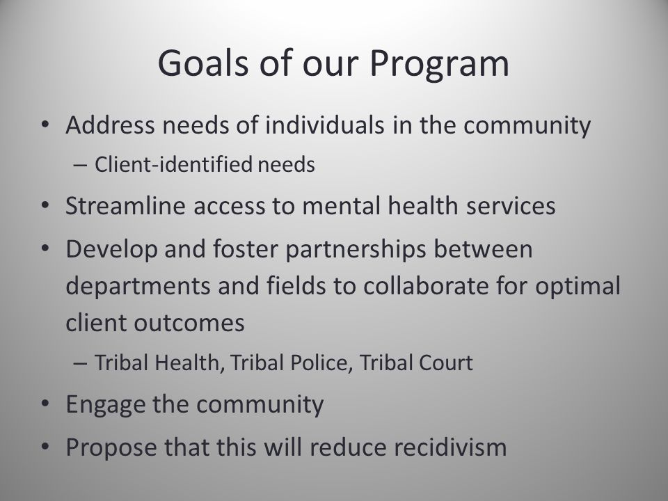 Goals of our Program Address needs of individuals in the community – Client-identified needs Streamline access to mental health services Develop and foster partnerships between departments and fields to collaborate for optimal client outcomes – Tribal Health, Tribal Police, Tribal Court Engage the community Propose that this will reduce recidivism