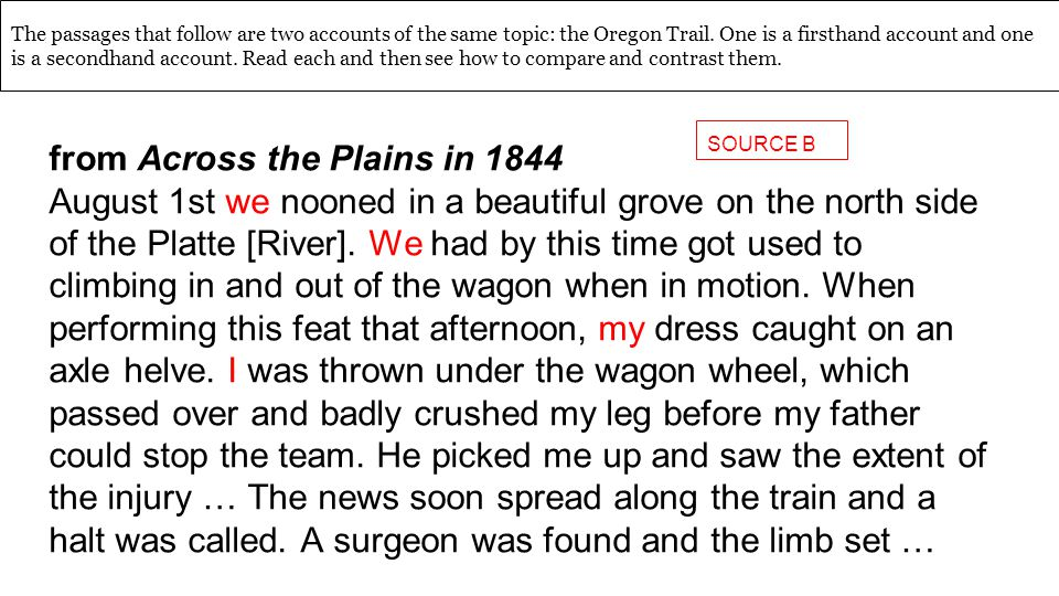 The passages that follow are two accounts of the same topic: the Oregon Trail.