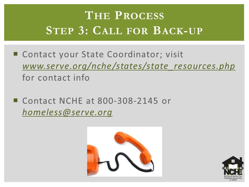 T HE P ROCESS S TEP 3: C ALL FOR B ACK - UP  Contact your State Coordinator; visit www.serve.org/nche/states/state_resources.php for contact info www.serve.org/nche/states/state_resources.php  Contact NCHE at 800-308-2145 or homeless@serve.org homeless@serve.org