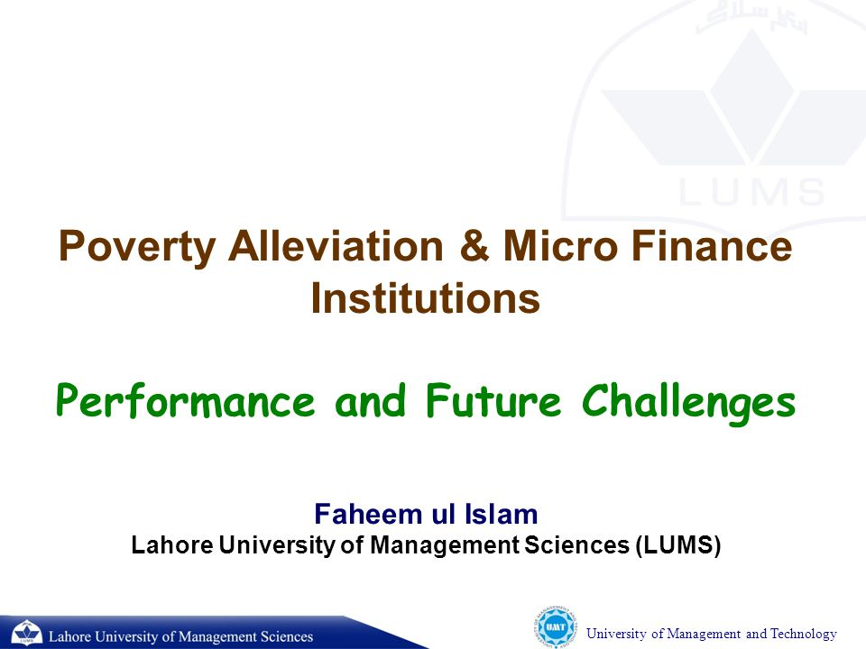 University of Management and Technology Financial Penetration in Pakistan