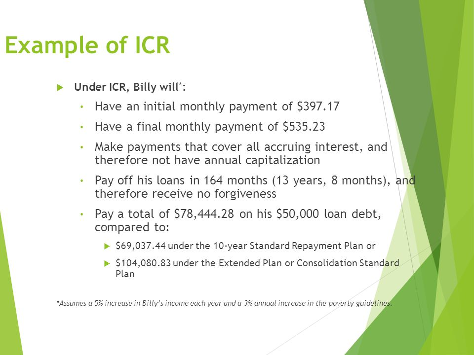 Example of ICR  Under ICR, Billy will * : Have an initial monthly payment of $397.17 Have a final monthly payment of $535.23 Make payments that cover all accruing interest, and therefore not have annual capitalization Pay off his loans in 164 months (13 years, 8 months), and therefore receive no forgiveness Pay a total of $78,444.28 on his $50,000 loan debt, compared to:  $69,037.44 under the 10-year Standard Repayment Plan or  $104,080.83 under the Extended Plan or Consolidation Standard Plan *Assumes a 5% increase in Billy's income each year and a 3% annual increase in the poverty guidelines.