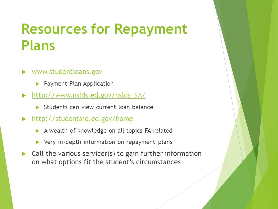 Resources for Repayment Plans  www.studentloans.gov www.studentloans.gov  Payment Plan Application  http://www.nslds.ed.gov/nslds_SA/ http://www.nslds.ed.gov/nslds_SA/  Students can view current loan balance  http://studentaid.ed.gov/home http://studentaid.ed.gov/home  A wealth of knowledge on all topics FA-related  Very in-depth information on repayment plans  Call the various servicer(s) to gain further information on what options fit the student's circumstances