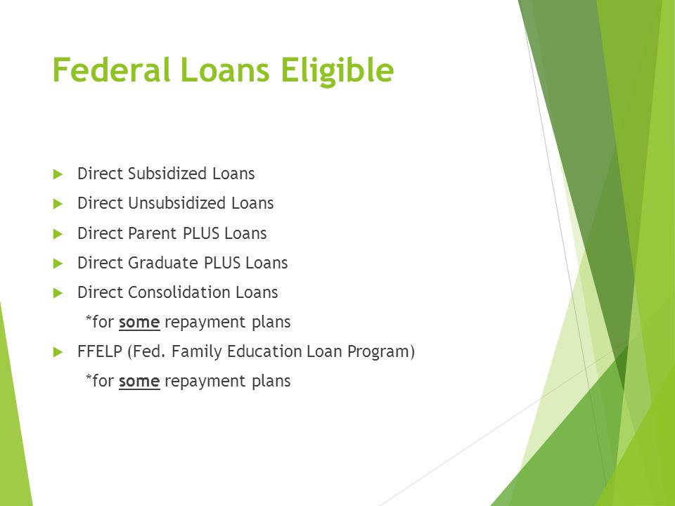 Federal Loans Eligible  Direct Subsidized Loans  Direct Unsubsidized Loans  Direct Parent PLUS Loans  Direct Graduate PLUS Loans  Direct Consolidation Loans *for some repayment plans  FFELP (Fed.
