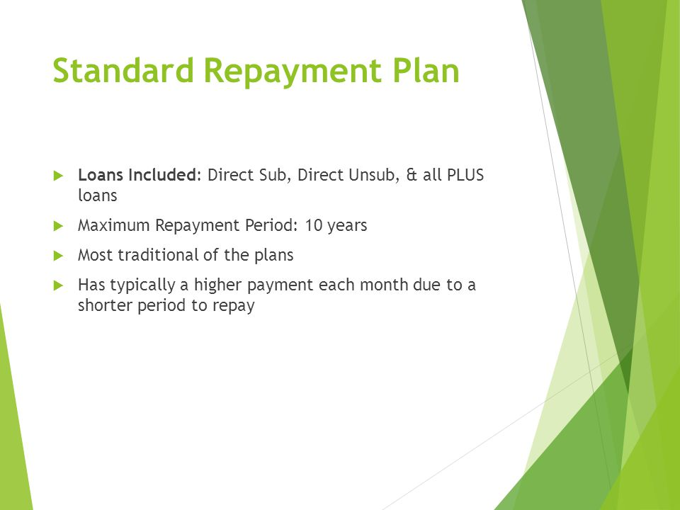 Standard Repayment Plan  Loans Included: Direct Sub, Direct Unsub, & all PLUS loans  Maximum Repayment Period: 10 years  Most traditional of the plans  Has typically a higher payment each month due to a shorter period to repay
