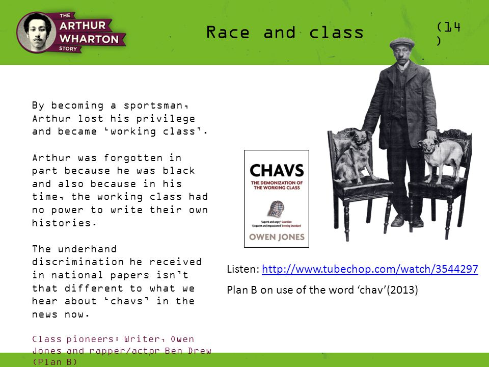 (14 ) Race and class By becoming a sportsman, Arthur lost his privilege and became 'working class'.
