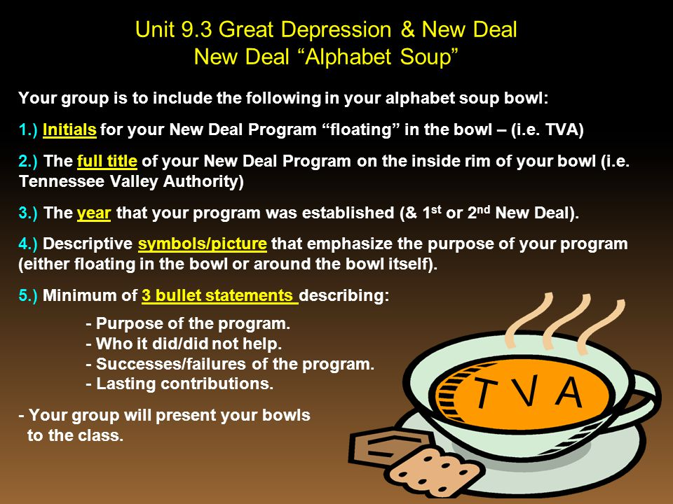 "T V A Unit 9.3 Great Depression & New Deal New Deal ""Alphabet Soup"" Your group is to include the following in your alphabet soup bowl: 1.) Initials fo"