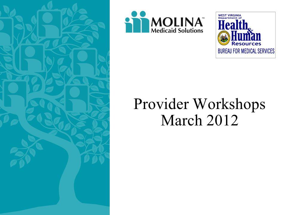 Provider Workshops March 2012