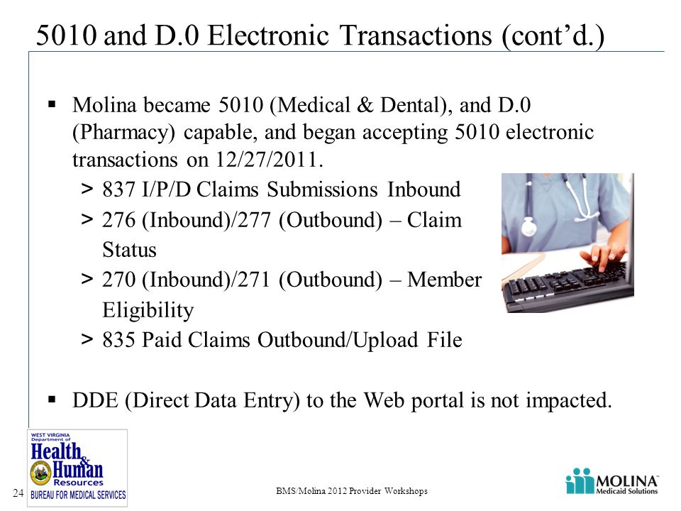 5010 and D.0 Electronic Transactions (cont'd.)  Molina became 5010 (Medical & Dental), and D.0 (Pharmacy) capable, and began accepting 5010 electronic transactions on 12/27/2011.