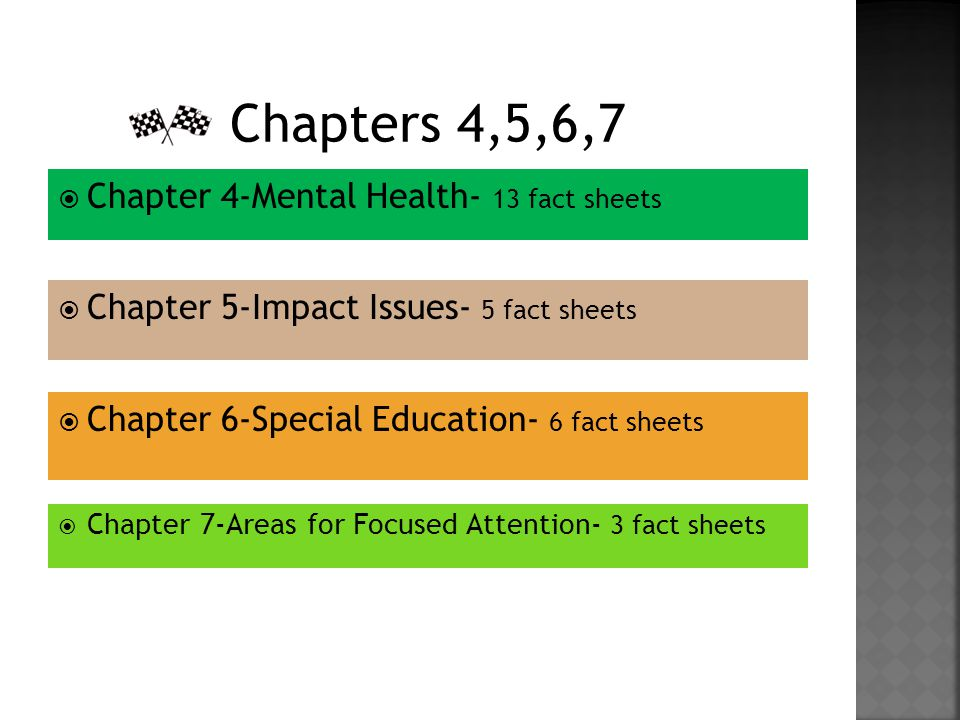  Chapter 4-Mental Health- 13 fact sheets  Chapter 5-Impact Issues- 5 fact sheets  Chapter 6-Special Education- 6 fact sheets  Chapter 7-Areas for